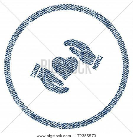Love Heart Care Hands textured icon for overlay watermark stamps. Blue jeans fabric vectorized texture. Rounded flat vector symbol with dirty design.