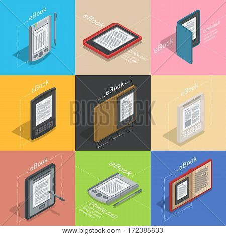 Electronic reader books set infographic. New 3d colorful icon. Mobile tablet device. Modern gadget. Isometric flat badges for infographic. Education symbol logo. Illustration vector art.