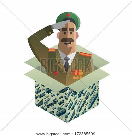 Gift box with funny army veteran man. Surprise for 23 ot february. Present for day of defenders of fatherland. Military pattern on a box. Isometric flat style. Vector illustration art.