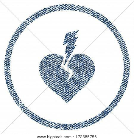 Love Heart Crash textured icon for overlay watermark stamps. Blue jeans fabric vectorized texture. Rounded flat vector symbol with dust design.