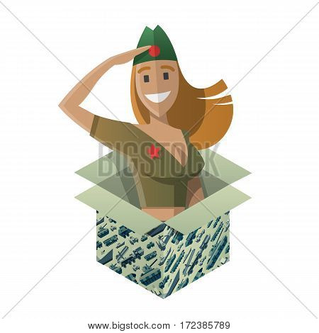 Gift box with funny army saluting woman. Surprise for 23 ot february. Present for day of defenders of fatherland. Military pattern on a box. Isometric flat style. Vector illustration art.