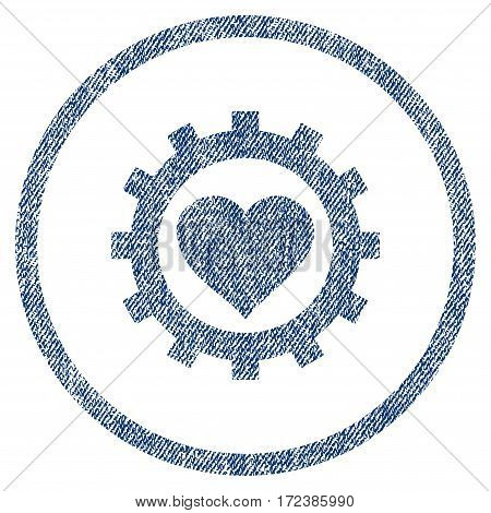 Love Heart Options Gear textured icon for overlay watermark stamps. Blue jeans fabric vectorized texture. Rounded flat vector symbol with scratched design.