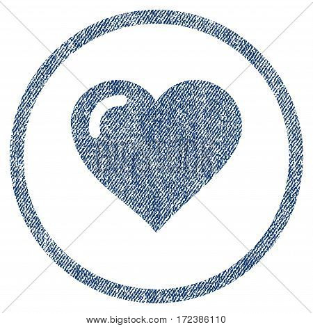 Love Heart textured icon for overlay watermark stamps. Blue jeans fabric vectorized texture. Rounded flat vector symbol with scratched design.