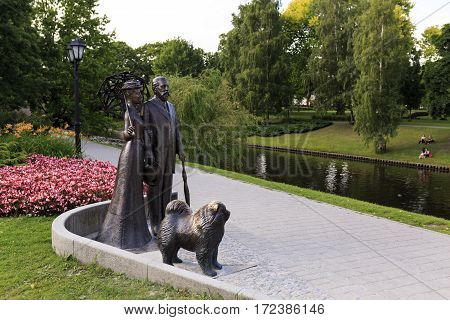 RIGA/ LATVIA - JULY 25. Monument to George Armitstead with his wife Cecilia Pihlau om July 25, 2015. Opera Square, Riga, Latvia.