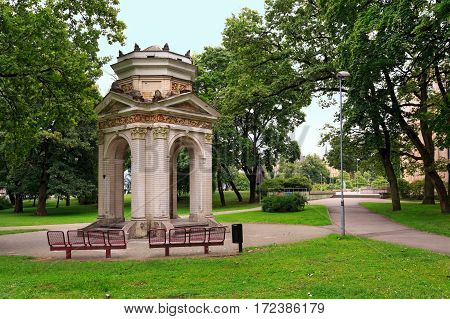 Old Gazebo in the Park Kronvalda. Riga Latvia