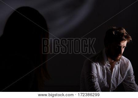 Depressed Man Suffering After Divorce