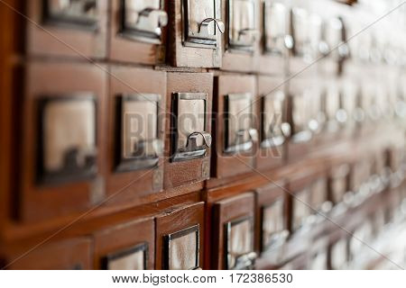 Archived old wooden cell in the library