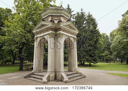 Old brick pavilion in the Park Kronvalda. Riga Latvia