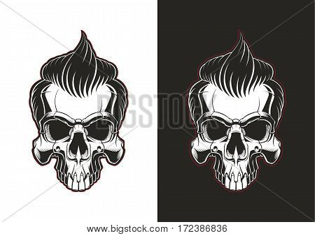 Frontal skull with hair. Barbershop skull illustration on white and black backgrounds.