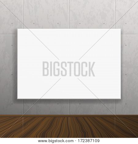 Vector empty blank white realistic mock up poster. Modern high tech interior. Concrete wall and wood floor. Picture frame on wall for your images and illustrations.