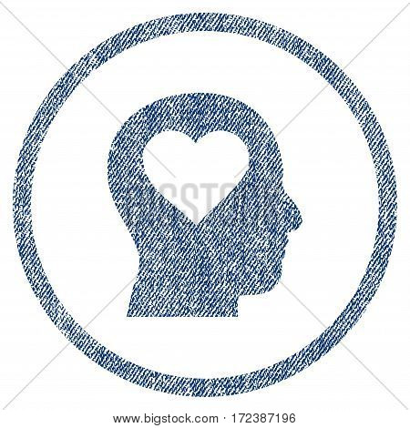 Love In Head textured icon for overlay watermark stamps. Blue jeans fabric vectorized texture. Rounded flat vector symbol with dust design.