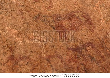 Ancient Rock Paintings African Mountains Ion A Beige Background