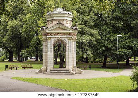 Old brick pavilion in the Park Kronvalda. Riga, Latvia