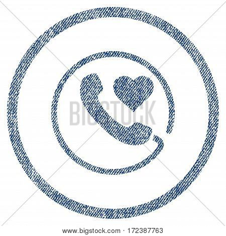 Love Phone textured icon for overlay watermark stamps. Blue jeans fabric vectorized texture. Rounded flat vector symbol with scratched design.