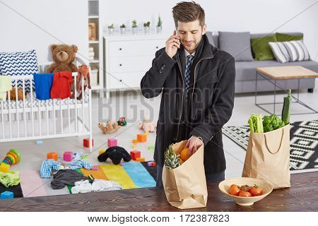 Single Father With Shopping Bags
