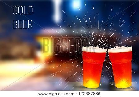 House. frosty glass of beer, vector illustration