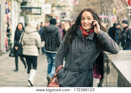 Beautiful Woman Talking On Mobile Phone, Urban Context