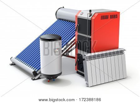 Elements of heating system with evacuated solar water heater, boilers and radiator - 3D illustration