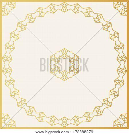 Golden Decorative Frame. Vector Design Template. Creative Luxury Background.