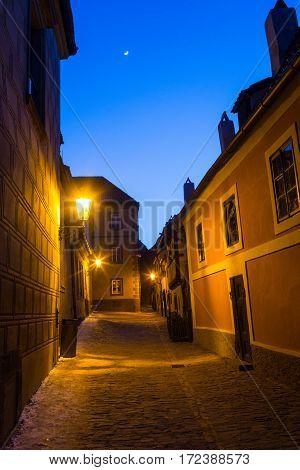 Golden Lane at Prague Castle at dusk poster
