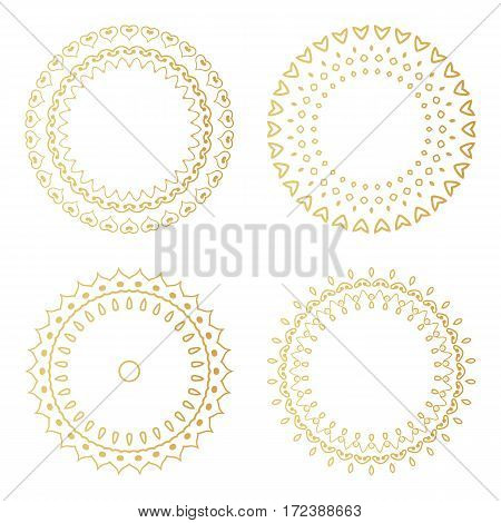 Golden Round Decorative Frames Set. Vector Luxury Design Templates. Creative Circular Patterns.