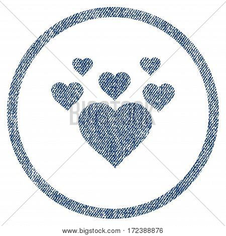 Lovely Hearts textured icon for overlay watermark stamps. Blue jeans fabric vectorized texture. Rounded flat vector symbol with scratched design.