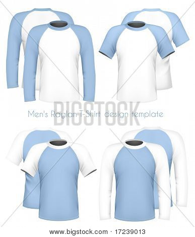 Vector illustration. Men's raglan t-shirt design template (front & back). poster