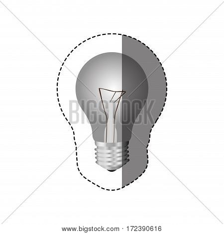 grayscale sticker with silhouette of bulb light vector illustration