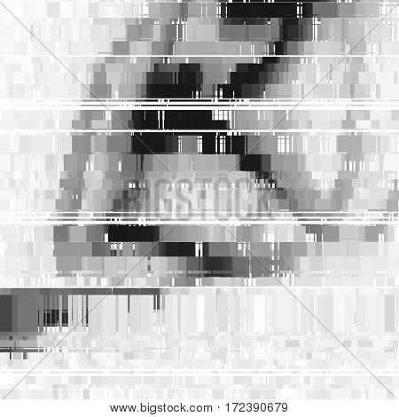 Glitch abstract background with distortion effect, bug, error, random horizontal black and white, monochrome lines for design concepts, posters, wallpapers, presentations, prints. Vector illustration.
