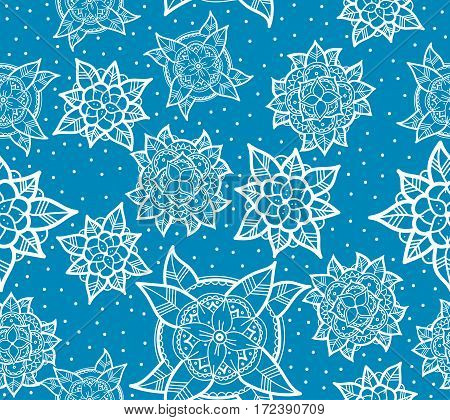 Abstract Seamless Blue Flower Pattern. Hand Drawn Color Background.