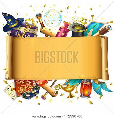 Vector Scroll with Magic Accessories isolated on white background