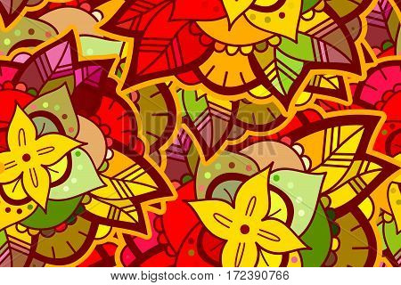 Abstract Seamless Colorful Flower Pattern. Hand Drawn Color Background.