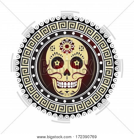Tribal ornament with sugar skull concept tattoo