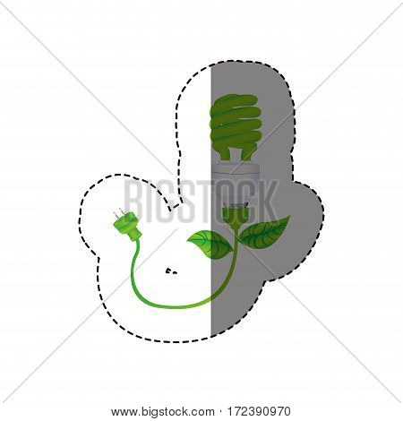 color sticker with silhouette ecologic light bulb with plug vector illustration