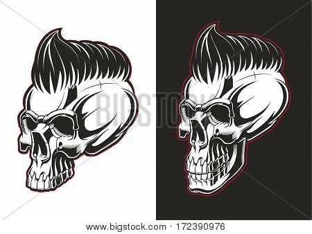 Half-profile barber skull on white and black backgrounds.