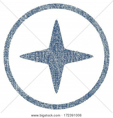Sparkle Star textured icon for overlay watermark stamps. Blue jeans fabric vectorized texture. Rounded flat vector symbol with scratched design.
