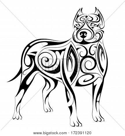 Dog tattoo with ethnic style elements as line art