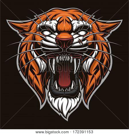 Tiger head on black background. Quality detalization