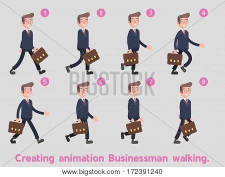 businessman walking on the animation frames. Flat. Vector. Illustration