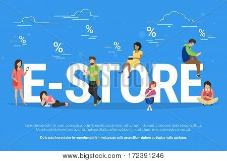 E-store online shopping concept illustration of people using mobile devices smartphone and digital tablet for online purchasing with discount and sale coupon. Flat young people doing shopping online