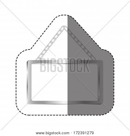 grayscale silhouette sticker with rectangular frame mirror with chain vector illustration