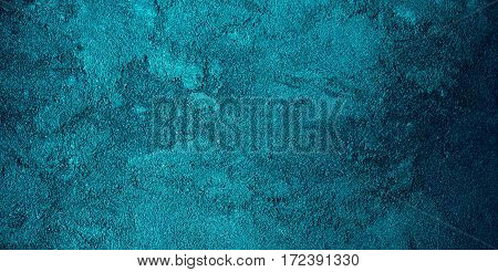 Abstract grunge dark turquoise background Teture. Textured rough Surface. Beautiful Wide Horizontal Backdrop Or Wallpaper With Copy Space