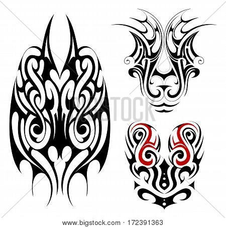 Tribal art tattoo set in Maori style