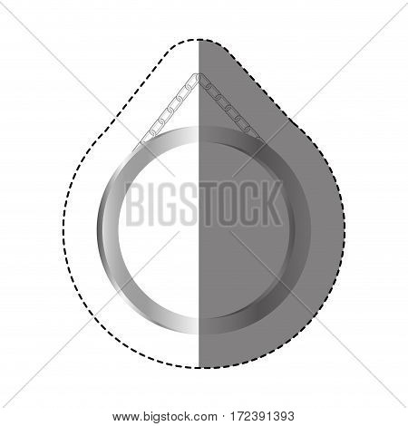 grayscale silhouette sticker with circular frame mirror with chain vector illustration