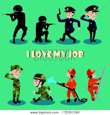 I love my job cartoon character illustration vector set