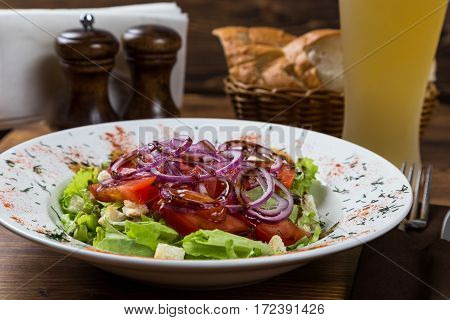 Vegetable Salad Serving With Light Beer