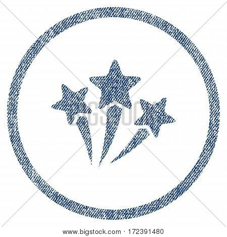 Star Fireworks textured icon for overlay watermark stamps. Blue jeans fabric vectorized texture. Rounded flat vector symbol with scratched design.
