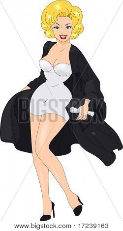 Illustration of a Pin Up Girl in a Sexy Pose