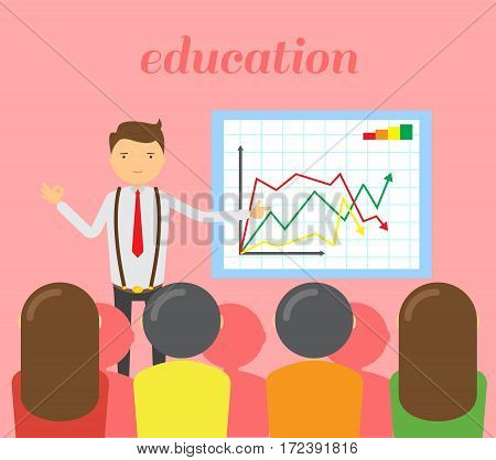 Businessman in red tie doing a presentation explaining the diagram on the whiteboard. Business seminar. Sleek style vector illustration