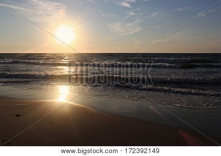 Sunset on the Baltic Sea at the summer. Kaliningrad region Russia.